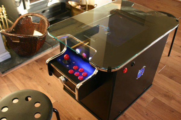arcade table with a spinner control